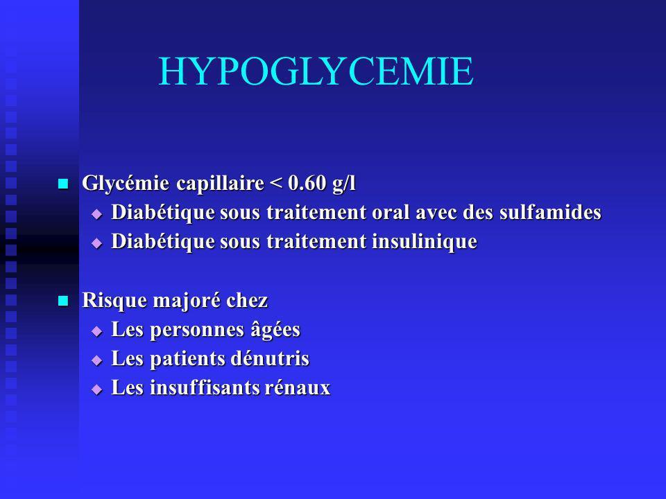 HYPOGLYCEMIE Glycémie capillaire < 0.60 g/l