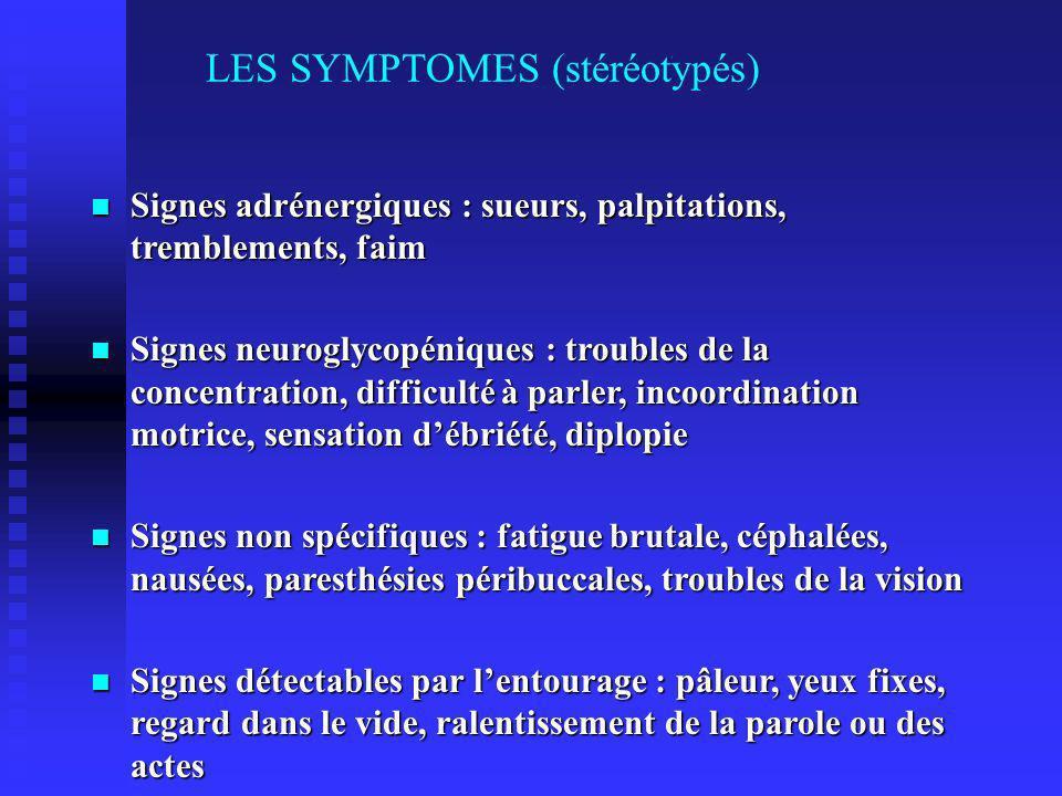 LES SYMPTOMES (stéréotypés)