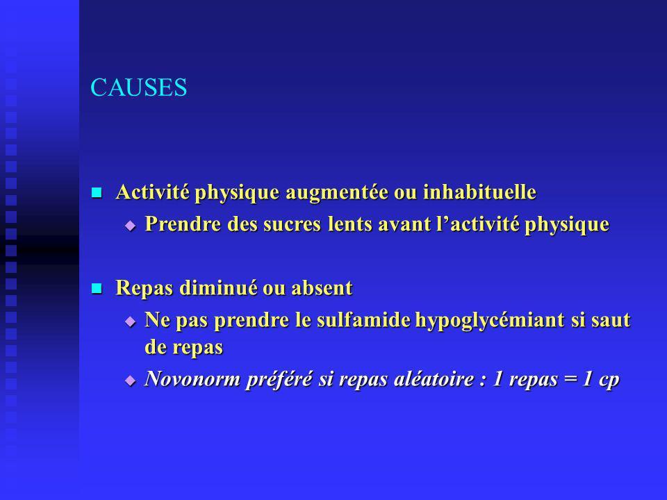 CAUSES Activité physique augmentée ou inhabituelle