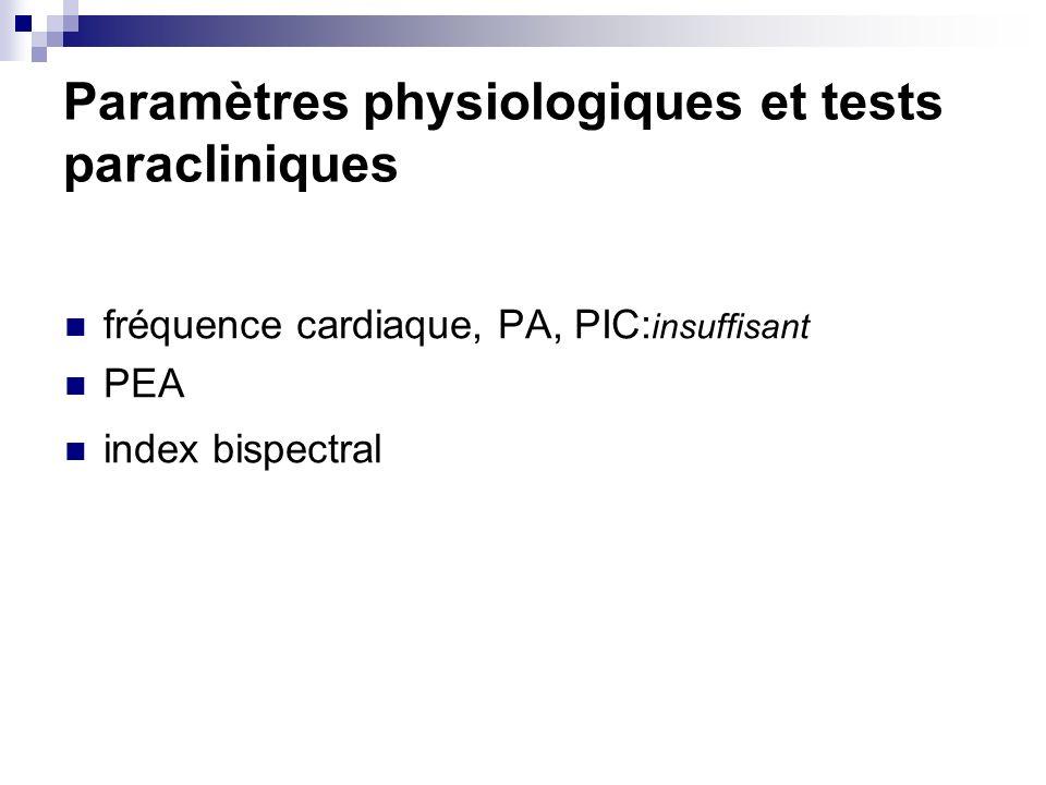 Paramètres physiologiques et tests paracliniques