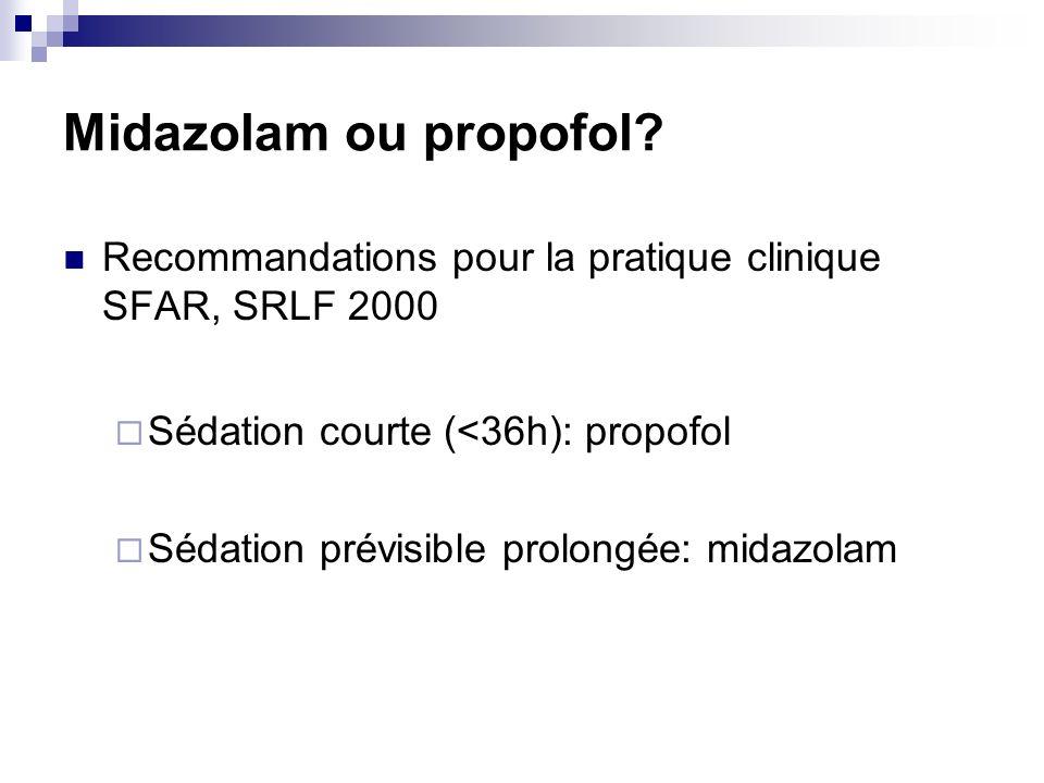Midazolam ou propofol Recommandations pour la pratique clinique SFAR, SRLF 2000. Sédation courte (<36h): propofol.