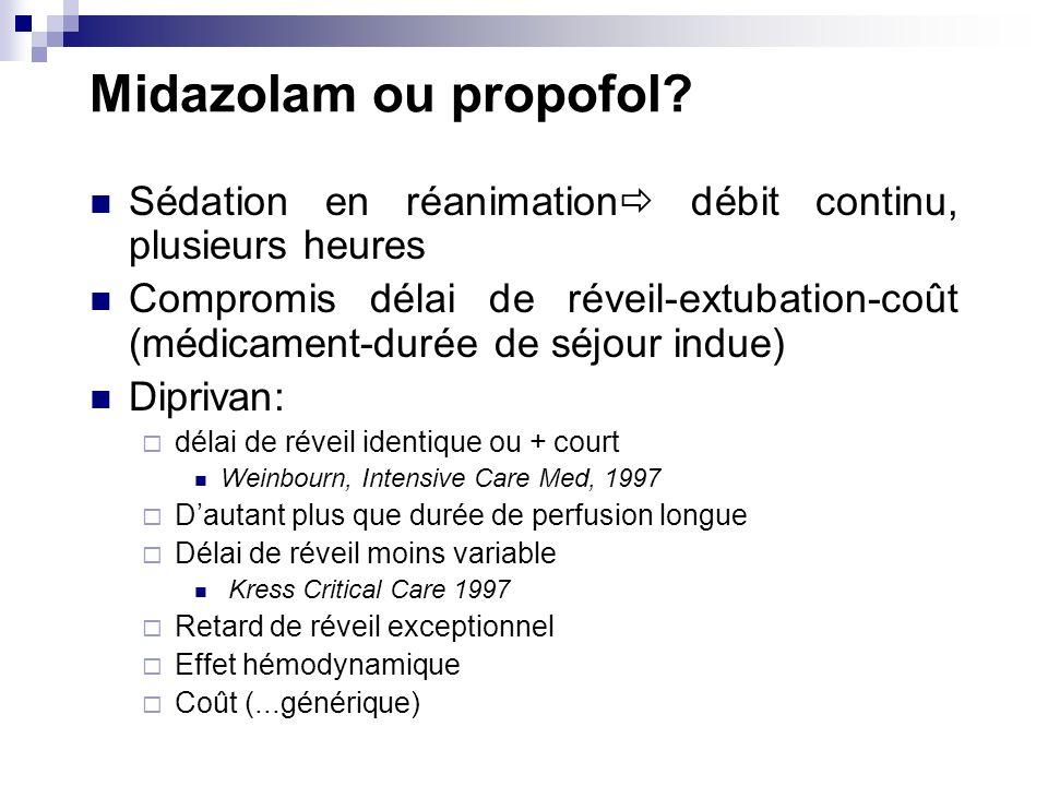 Midazolam ou propofol Sédation en réanimation débit continu, plusieurs heures.