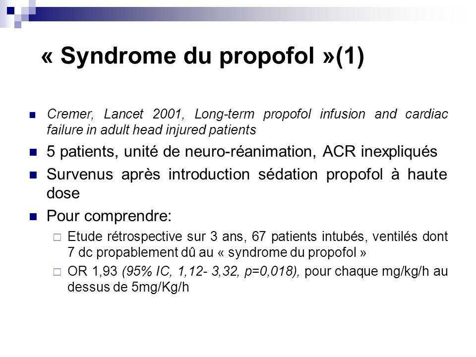 « Syndrome du propofol »(1)