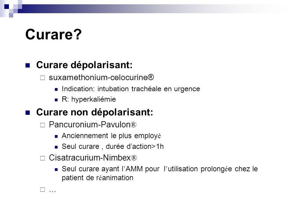 Curare Curare dépolarisant: Curare non dépolarisant: