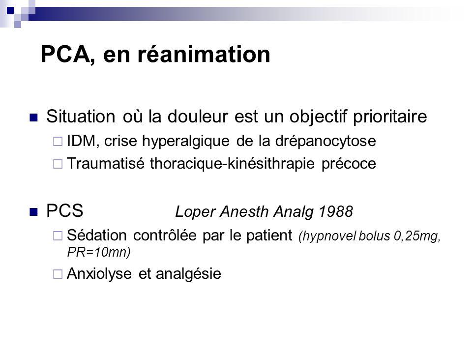 PCA, en réanimation Situation où la douleur est un objectif prioritaire. IDM, crise hyperalgique de la drépanocytose.