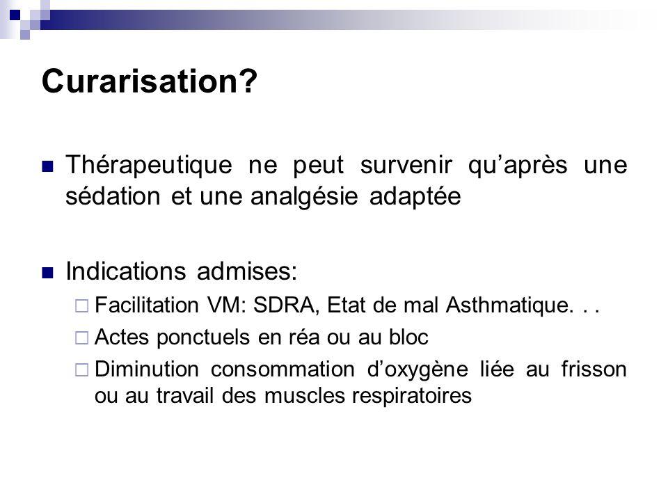 Curarisation Thérapeutique ne peut survenir qu'après une sédation et une analgésie adaptée. Indications admises: