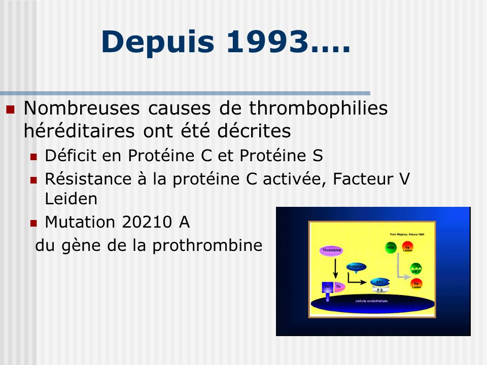 Depuis 1993….Nombreuses causes de thrombophilies héréditaires ont été décrites. Déficit en Protéine C et Protéine S.