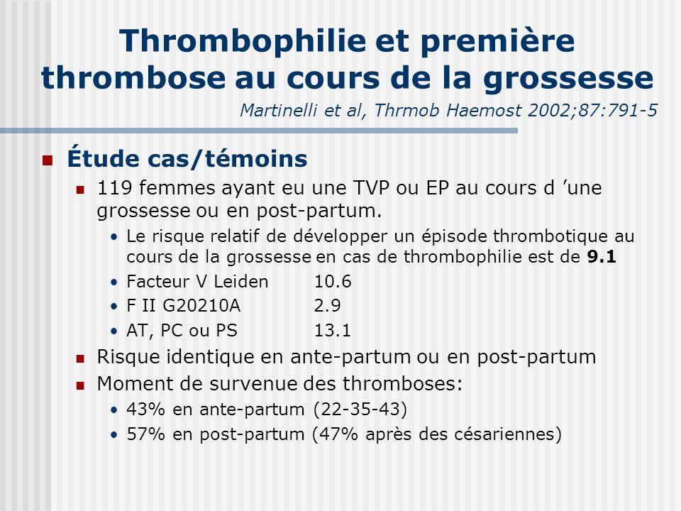Thrombophilie et première thrombose au cours de la grossesse