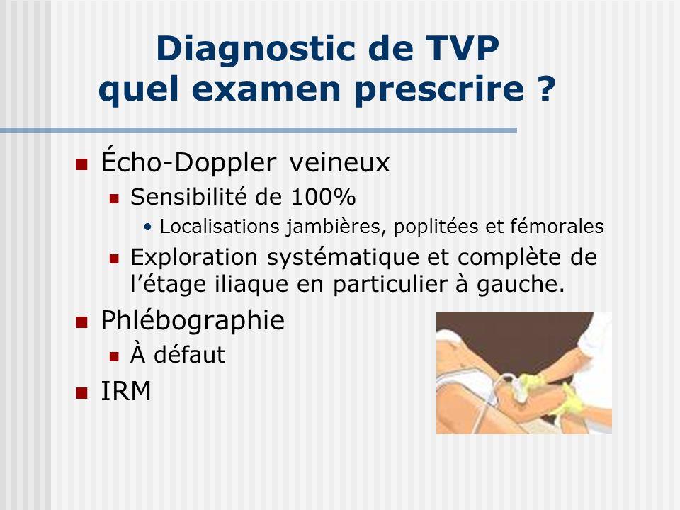 Diagnostic de TVP quel examen prescrire