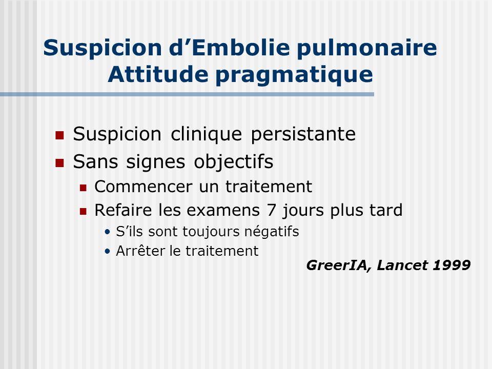 Suspicion d'Embolie pulmonaire Attitude pragmatique