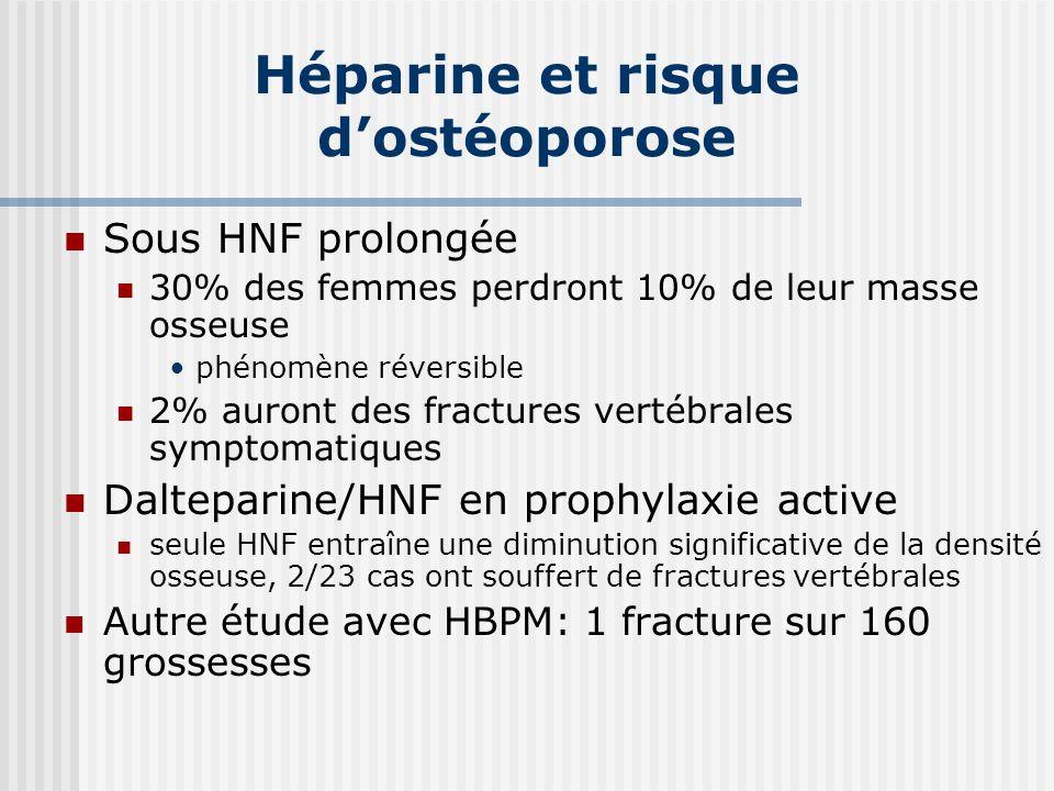 Héparine et risque d'ostéoporose
