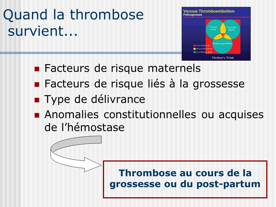 Quand la thrombose survient...