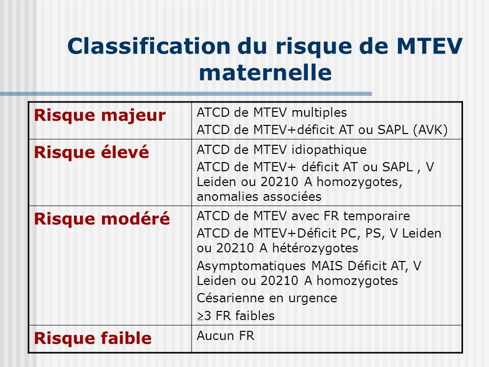 Classification du risque de MTEV maternelle