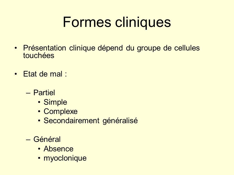 Formes cliniques Présentation clinique dépend du groupe de cellules touchées. Etat de mal : Partiel.