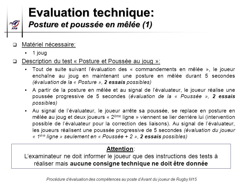 Evaluation technique: Posture et poussée en mêlée (1)