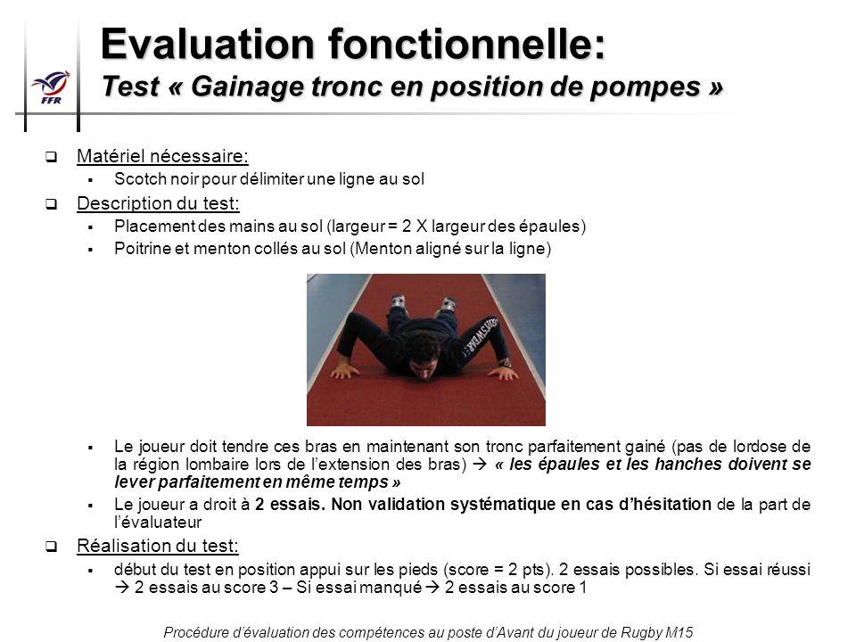 Evaluation fonctionnelle: Test « Gainage tronc en position de pompes »