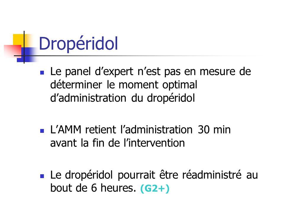 Dropéridol Le panel d'expert n'est pas en mesure de déterminer le moment optimal d'administration du dropéridol.