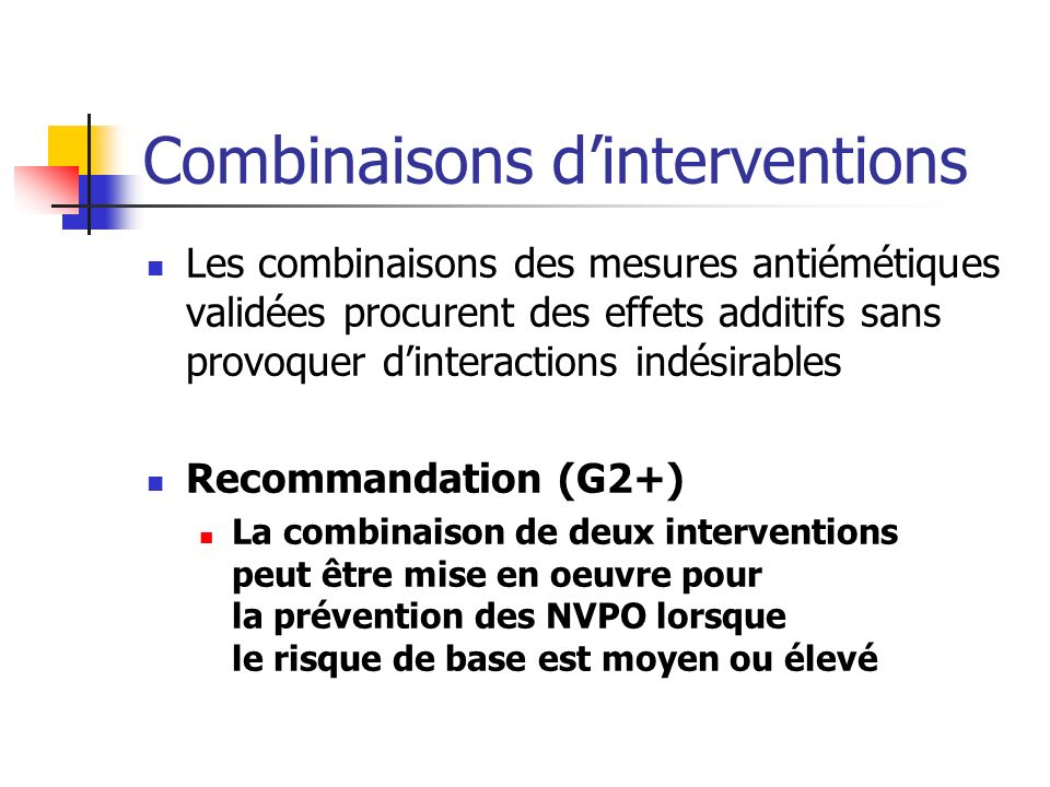Combinaisons d'interventions