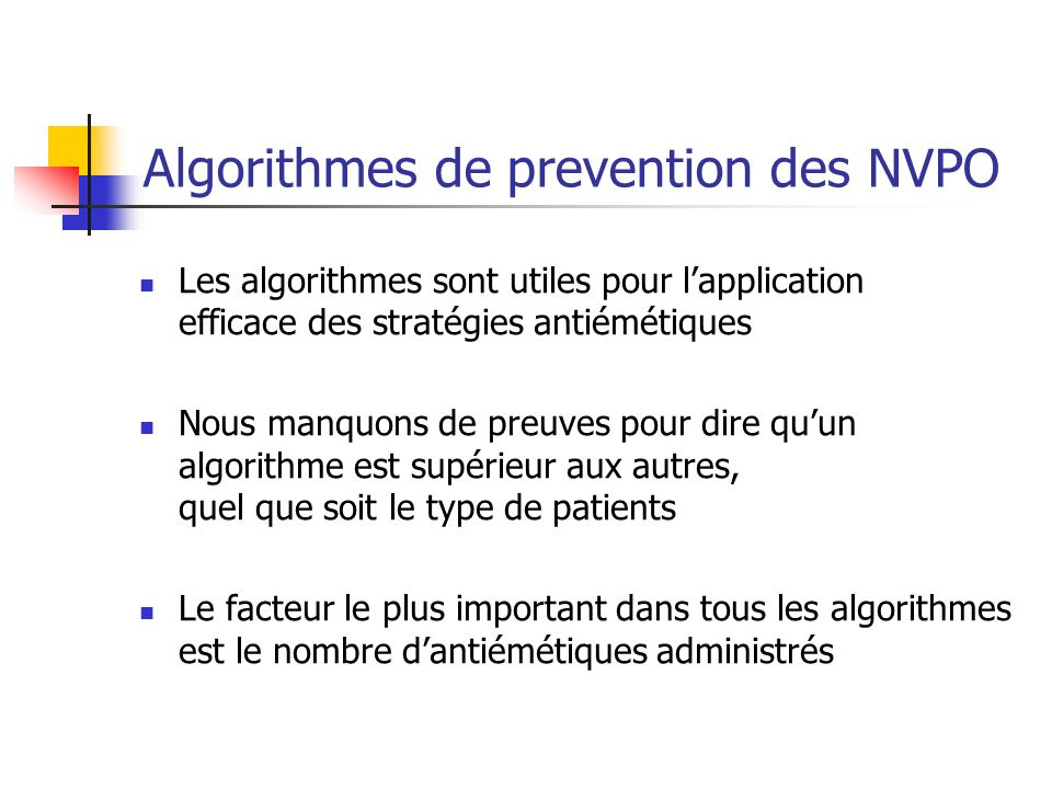 Algorithmes de prevention des NVPO