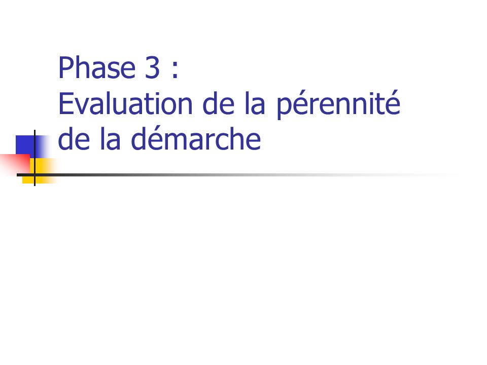 Phase 3 : Evaluation de la pérennité de la démarche
