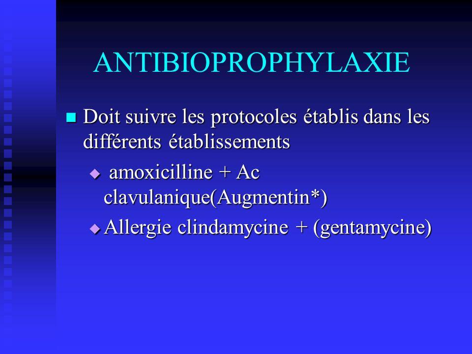 ANTIBIOPROPHYLAXIE Doit suivre les protocoles établis dans les différents établissements. amoxicilline + Ac clavulanique(Augmentin*)