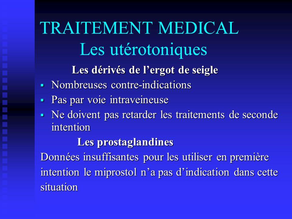 TRAITEMENT MEDICAL Les utérotoniques