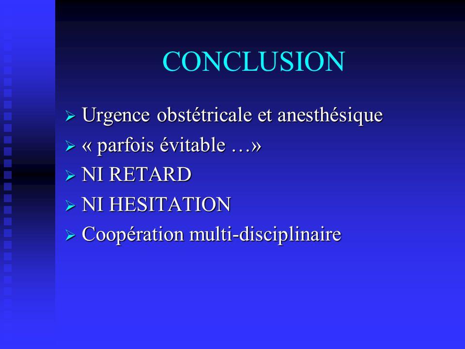 CONCLUSION Urgence obstétricale et anesthésique « parfois évitable …»