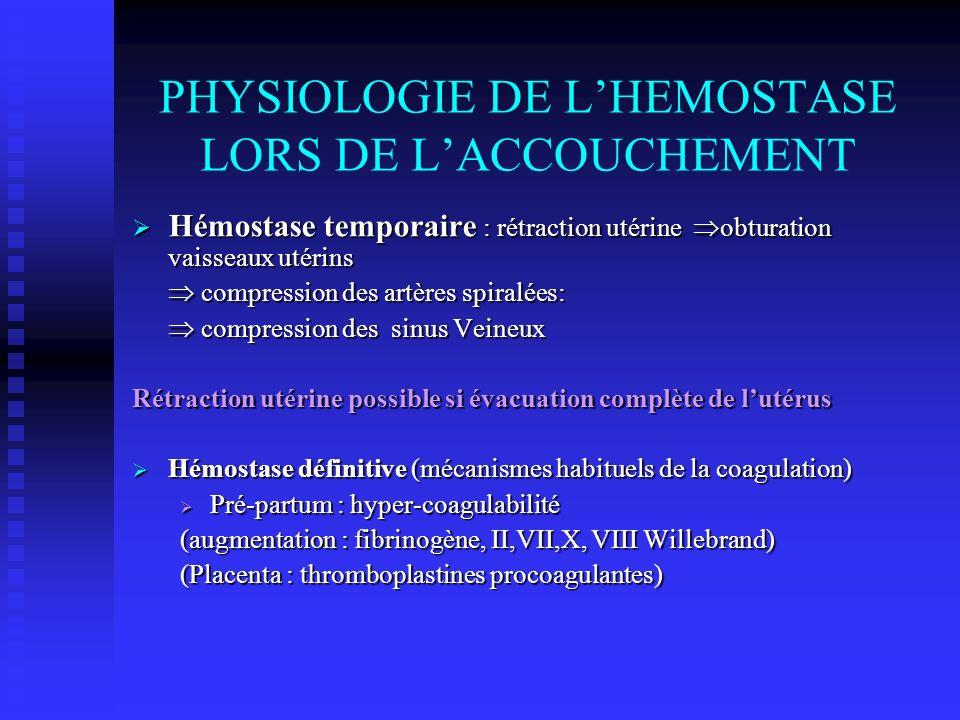 PHYSIOLOGIE DE L'HEMOSTASE LORS DE L'ACCOUCHEMENT