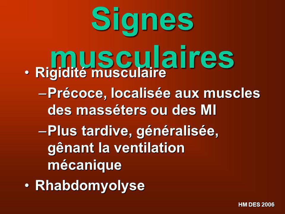 Signes musculaires Rigidité musculaire