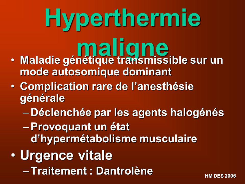 Hyperthermie maligne Urgence vitale