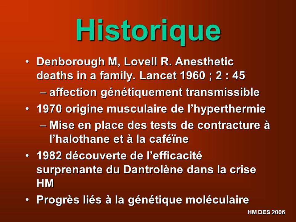 Historique Denborough M, Lovell R. Anesthetic deaths in a family. Lancet 1960 ; 2 : 45. affection génétiquement transmissible.