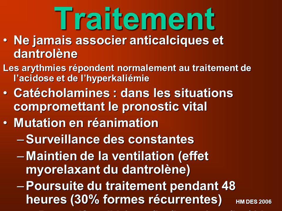 Traitement Ne jamais associer anticalciques et dantrolène