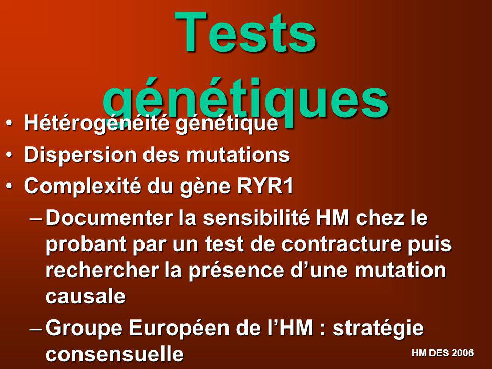 Tests génétiques Hétérogénéité génétique Dispersion des mutations