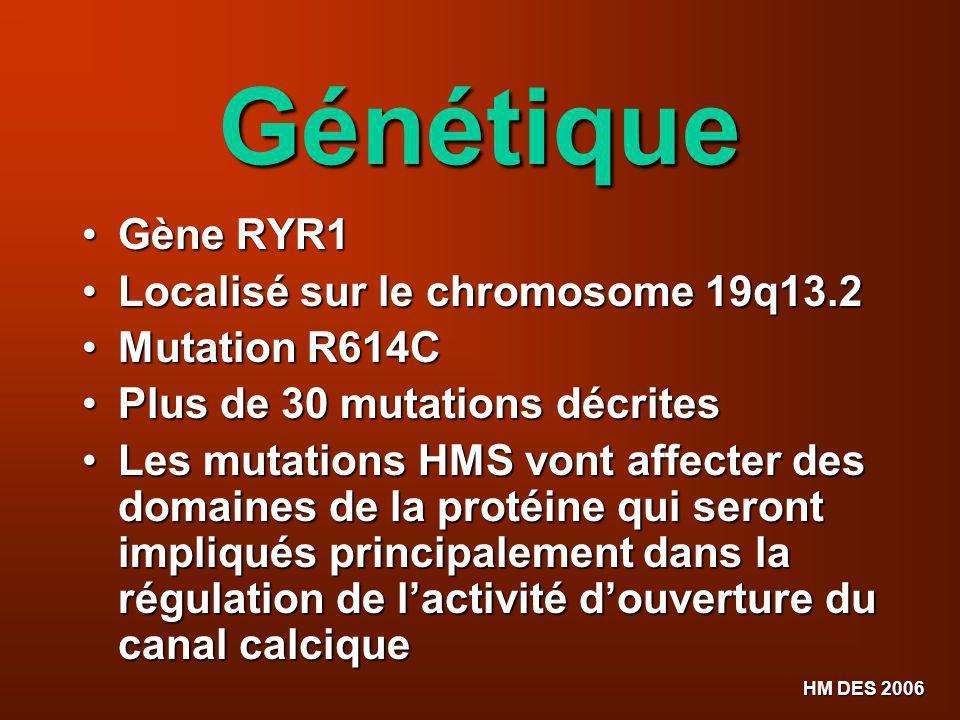 Génétique Gène RYR1 Localisé sur le chromosome 19q13.2 Mutation R614C