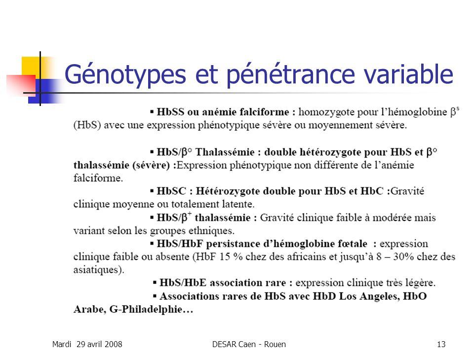 Génotypes et pénétrance variable