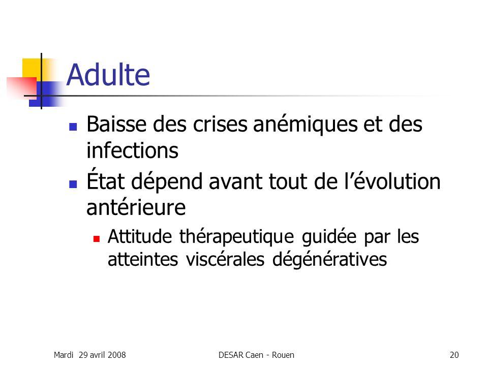 Adulte Baisse des crises anémiques et des infections