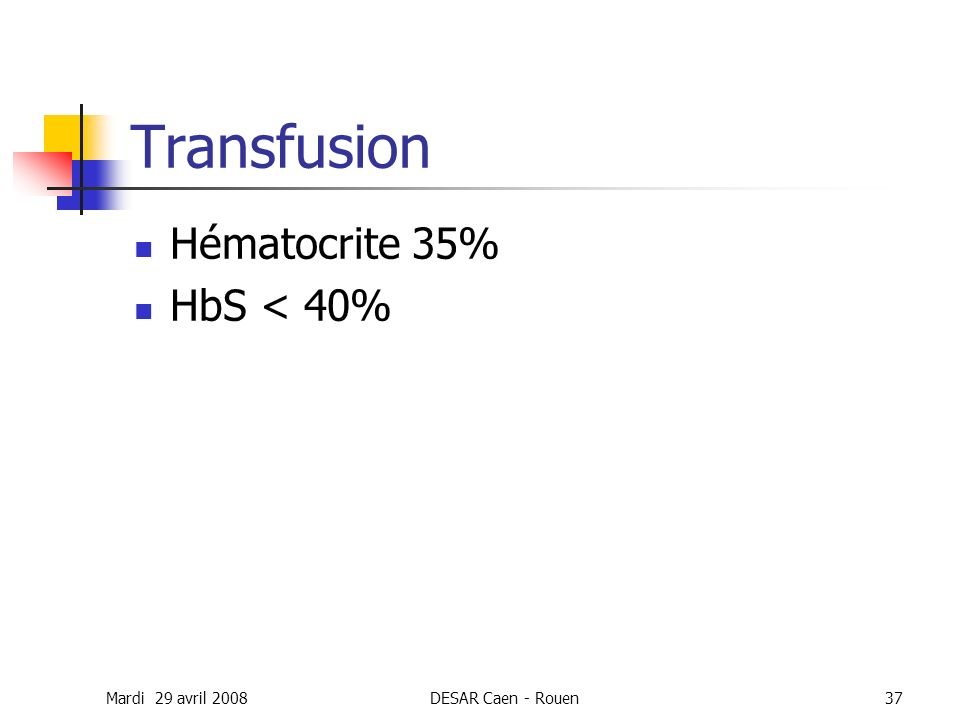 Transfusion Hématocrite 35% HbS < 40% Mardi 29 avril 2008