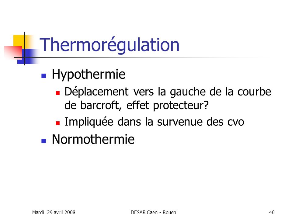 Thermorégulation Hypothermie Normothermie