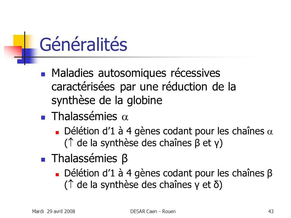 Généralités Maladies autosomiques récessives caractérisées par une réduction de la synthèse de la globine.