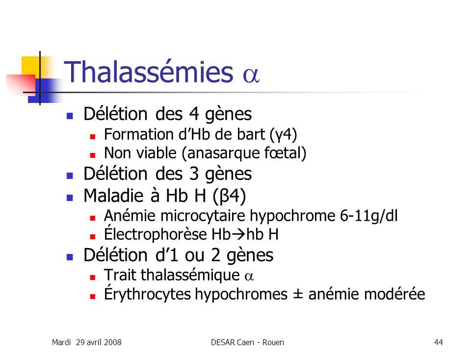 Thalassémies a Délétion des 4 gènes Délétion des 3 gènes