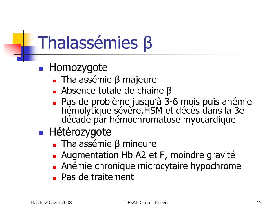 Thalassémies β Homozygote Hétérozygote Thalassémie β majeure