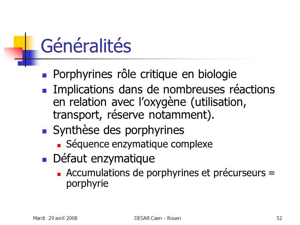 Généralités Porphyrines rôle critique en biologie
