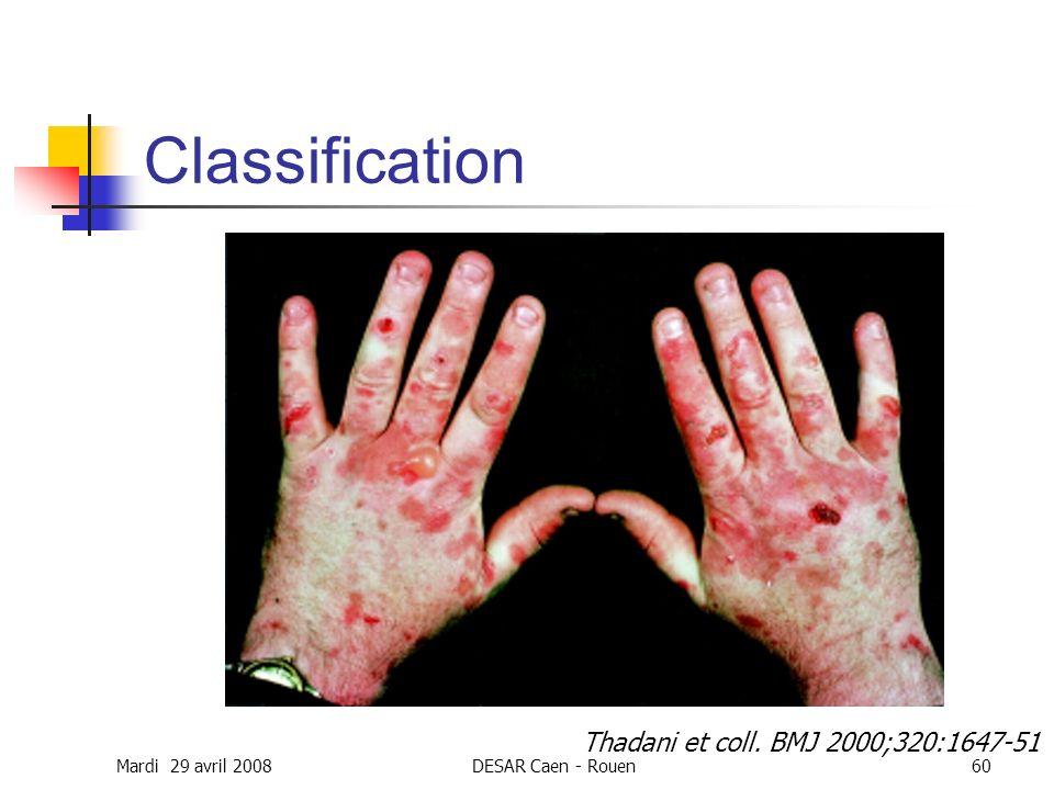 Classification Thadani et coll. BMJ 2000;320:1647-51