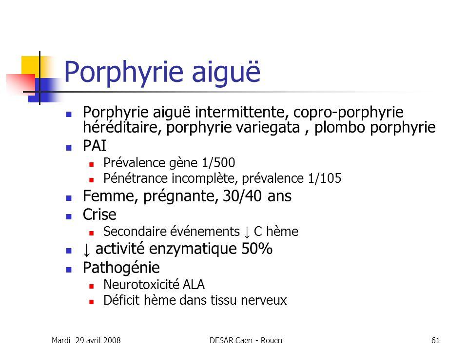 Porphyrie aiguë Porphyrie aiguë intermittente, copro-porphyrie héréditaire, porphyrie variegata , plombo porphyrie.