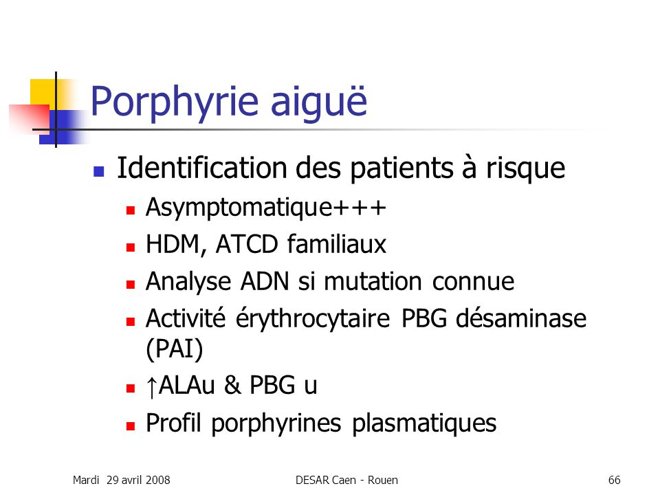 Porphyrie aiguë Identification des patients à risque Asymptomatique+++