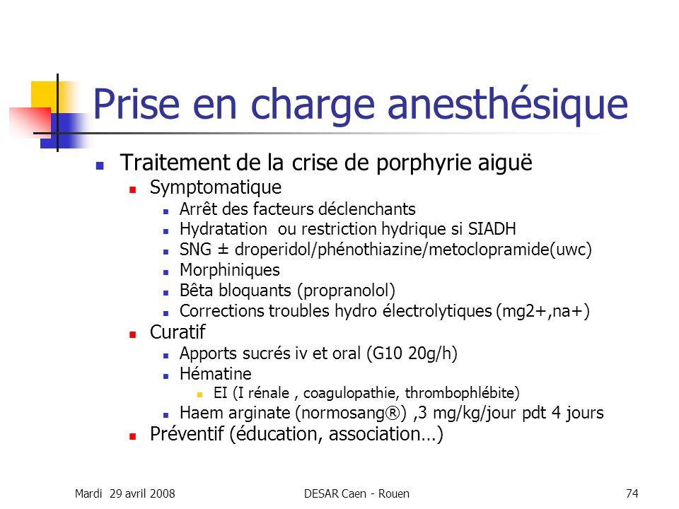 Prise en charge anesthésique