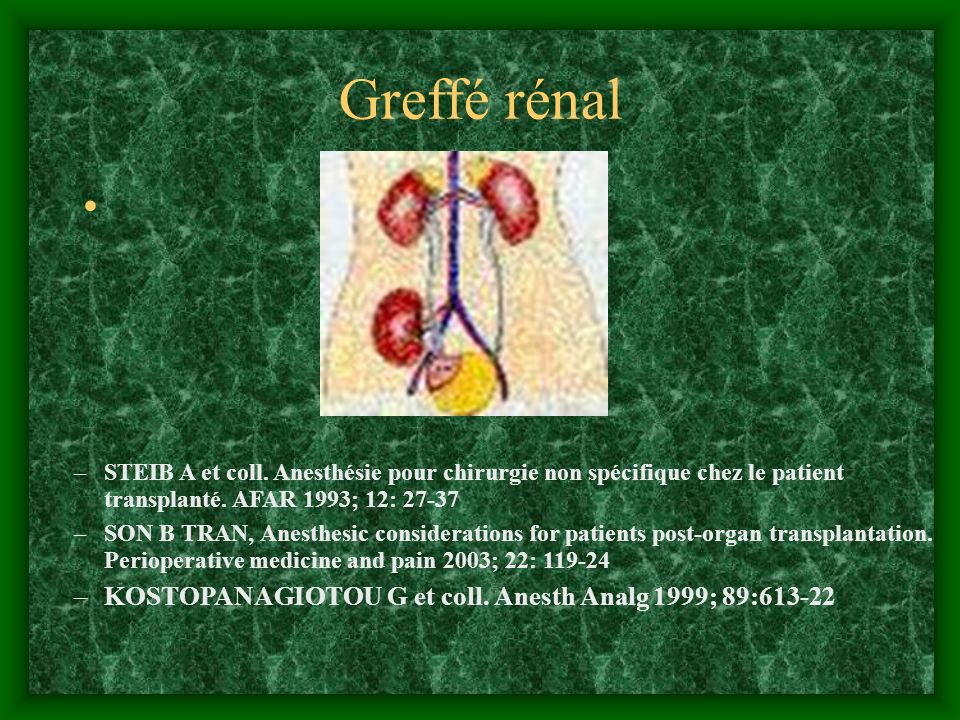 Greffé rénal KOSTOPANAGIOTOU G et coll. Anesth Analg 1999; 89:613-22