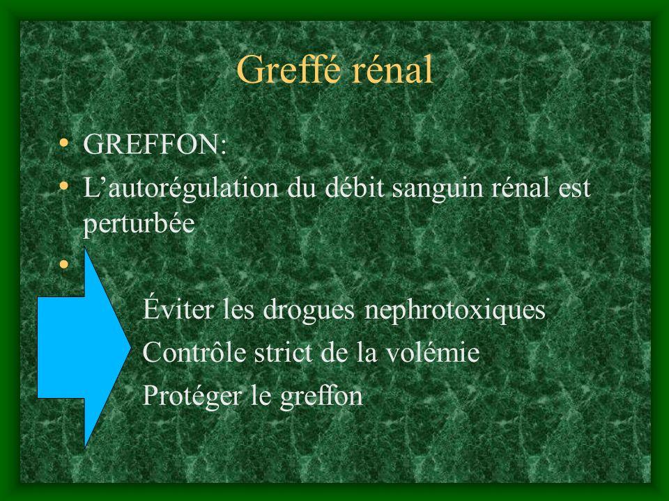 Greffé rénal GREFFON: L'autorégulation du débit sanguin rénal est perturbée. Éviter les drogues nephrotoxiques.
