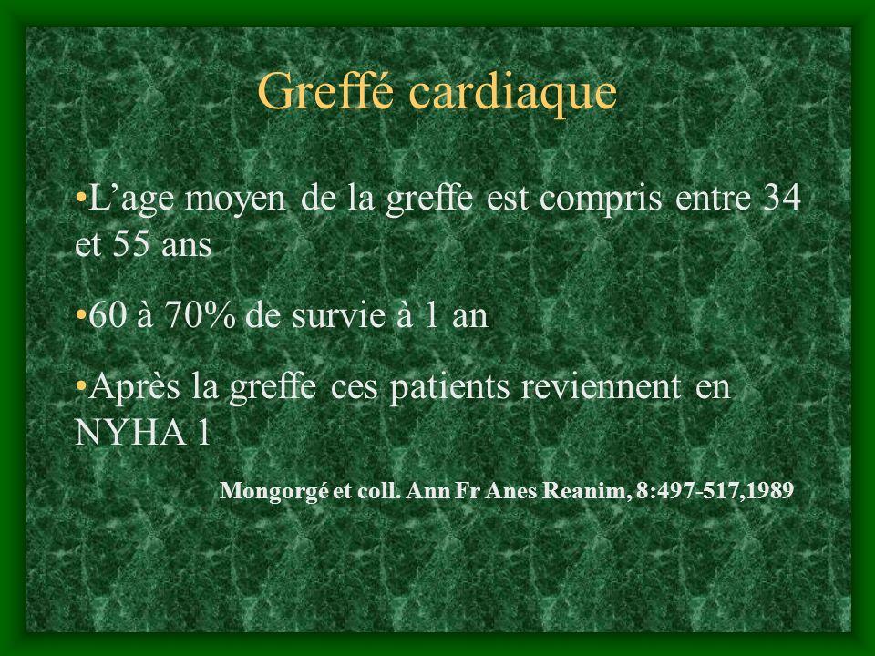 Greffé cardiaque L'age moyen de la greffe est compris entre 34 et 55 ans. 60 à 70% de survie à 1 an.