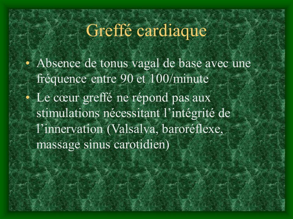 Greffé cardiaque Absence de tonus vagal de base avec une fréquence entre 90 et 100/minute.